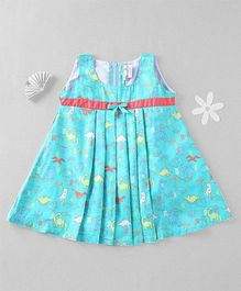 Mom's Girl Dinosaur Printed Dress - Turquoise