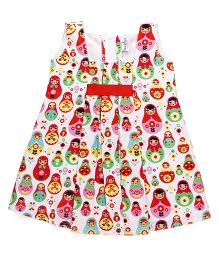 Mom's Girl Colorful Doll Printed Dress - White