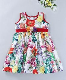 Mom's Girl Flower Applique Dress - Multicolour