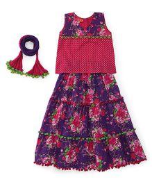 Exclusive from Jaipur Sleeveless Designer Lehenga Choli And Dupatta - Purple Pink