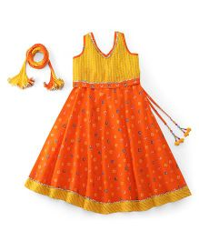 Exclusive from Jaipur Sleeveless Designer Lehenga Choli And Dupatta - Yellow Orange