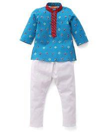 Exclusive From Jaipur Full Sleeves Kurta Pyjama Set - Blue Off White