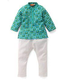 Exclusive From Jaipur Full Sleeves Kurta Pyjama Set - Green Sky Blue Off White