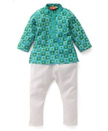 Exclusive From Jaipur Full Sleeves Kurta Pajama Set - Green Sky Blue Off White