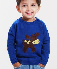 Babyhug Full Sleeves Sweater Reindeer Patch - Royal Blue