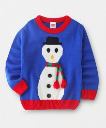 Babyhug Full Sleeves Pullover Sweater Snowman Design - Royal Blue
