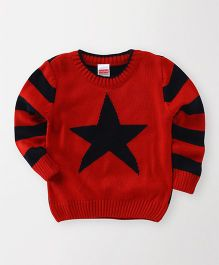 Babyhug Full Sleeves Sweater Star Design - Red Black