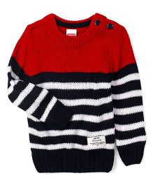 Babyhug Full Sleeves Striped Sweater - Red & Dark Navy Blue