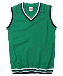 Babyhug Sleeveless Solid Color Sweater - Green