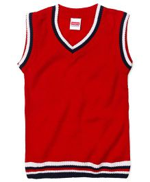 Babyhug Sleeveless Solid Color Sweater - Red