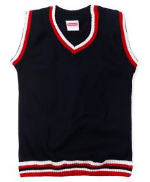 Babyhug Sleeveless Solid Color Sweater - Navy Blue