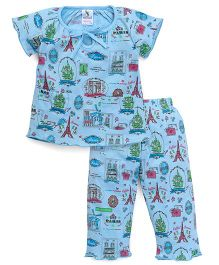Cucumber Half Sleeves Night Suit Paris Print - Sky Blue