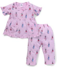 Cucumber Half Sleeves Night Suit With Pockets - Pink