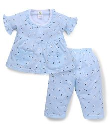 Cucumber Half Sleeves Night Suit With Pockets - Sky Blue