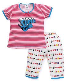 Cucumber Half Sleeves Night Suit Stripes & Super Girl Print - Pink