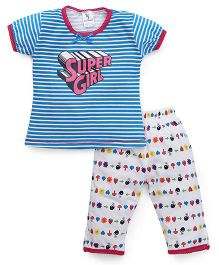 Cucumber Half Sleeves Night Suit Stripes & Super Girl Print - Blue