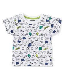 Cucumber Half Sleeves T-Shirt Dino Print - White