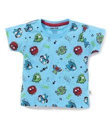 Cucumber Half Sleeves T-Shirt Monster Print - Sky Blue