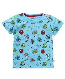 Cucumber Half Sleeves Printed T-Shirt - Blue