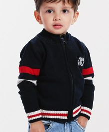Babyhug Full Sleeves Sweater Front Open Zipper - Navy Blue