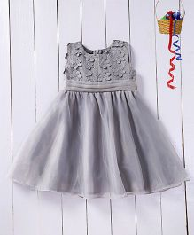 Pspeaches Lace Flower Dress With Organza Bodice - Grey