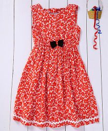 Pspeaches Flower Print Dress With Back Bow - Orange