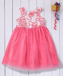 Pspeaches Net Dress With Ribbon Work On Bodice - Fluorescent Pink