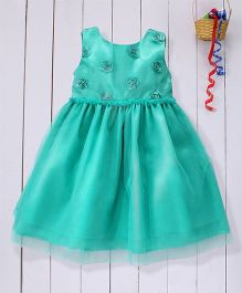 Pspeaches Rose Design Party Dress - Green