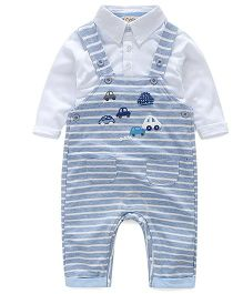 Pre Order - Lil Mantra Car Design Dungaree & Shirt Set- Blue