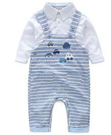 Pre Order - Lil Mantra Car Design Dungaree & Shirt Set- Blue