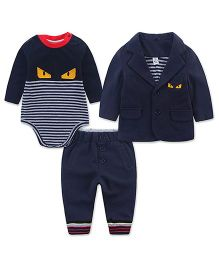 Lil Mantra Eye & Stripe Print Onesie With Coat & Pant Set - Navy Blue