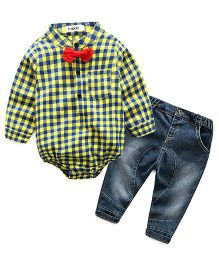 Lil Mantra Checkered Romper Shirt & Denim Set - Yellow & Blue