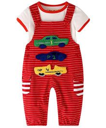 Pre Order - Lil Mantra Car Embroidery Dungaree Style Romper Set - Red