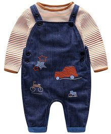 Lil Mantra Stripe T-Shirt & Embroidered Denim Dungaree Set - Brown & Navy Blue