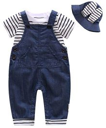 Pre Order - Lil Mantra Stripe Romper Style Denim Dungaree Set With Hat - Navy Blue