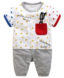 Pre Order - Lil Mantra Dot Print Romper Set - White & Yellow
