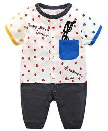 Pre Order - Lil Mantra Dot Print Romper Set - White & Red