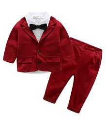 Pre Order - Lil Mantra Shirt With Bow Tie & Coat With Bottom Wear - Red