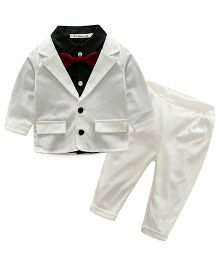 Pre Order - Lil Mantra Shirt With Bow Tie & Coat With Bottom Wear - White