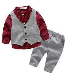 Pre Order - Lil Mantra Checkered Shirt With Tuxedo & Bottom Set - Red & Black