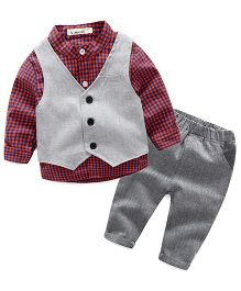 Pre Order - Lil Mantra Checkered Shirt With Tuxedo & Bottom Set - Red & Blue