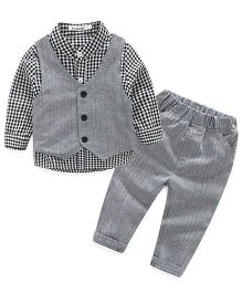 Pre Order - Lil Mantra Checkered Shirt With Tuxedo & Bottom Set - Grey