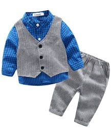 Pre Order - Lil Mantra Checkered Shirt With Tuxedo & Bottom Set - Blue & Grey