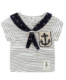 Pre Order - Lil Mantra Sailor Style Anchor Print T-Shirt - Navy Blue & White