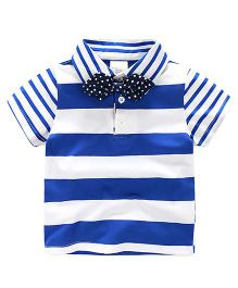 Pre Order - Lil Mantra Stripe T-Shirt With Bow - Blue