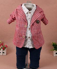Pre Order - Lil Mantra Checkered Coat With Shirt & Pant Set - Pink & White