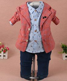 Pre Order - Lil Mantra Checkered Coat With Shirt & Pant Set - Red & Blue