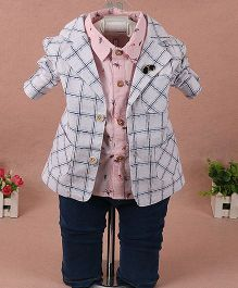 Pre Order - Lil Mantra Checkered Coat With Shirt & Pant Set - White & Pink