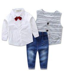 Pre Order - Lil Mantra Shirt With Stripe Tuxedo Coat & Denim Set With Bow - White & Grey