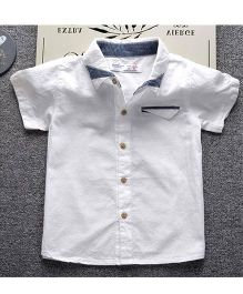 Pre Order - Lil Mantra Dual Collared Shirt With Pocket - White